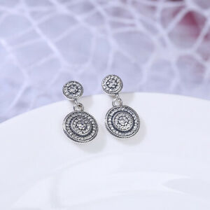 Authentic-100-925-Sterling-Silver-Radiant-Elegance-Earrings-Clear-CZ