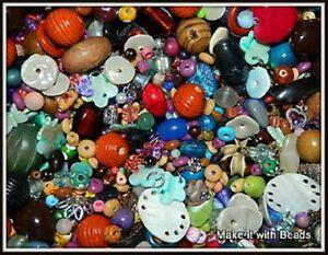 Random-Mixed-Beads-Wood-Glass-Shell-Acrylic-Jewellery-Making-Craft