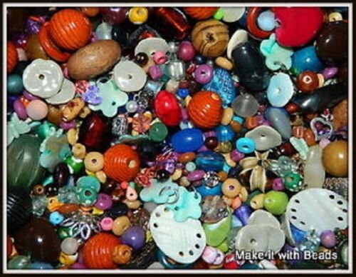 Random Mixed Beads Wood Glass Shell Acrylic Jewellery Making Craft