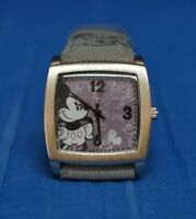 Disney Mickey Mouse Watch Limited Release Gray Canvas / Leather Band Men Women