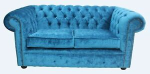 Chesterfield 2 Seater Pastiche Teal Blue Velvet Fabric Sofa Settee | EBay