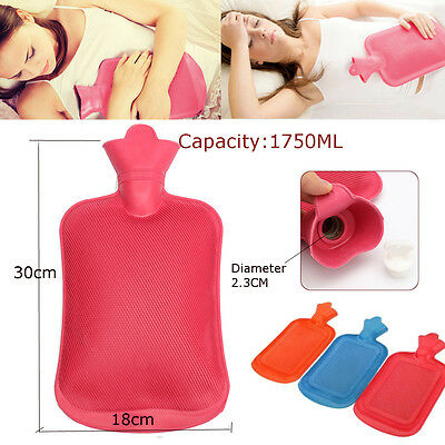 1750ml Rubber Hot Water Bottle Bag Hand Warmers Winter Warm Home Office Therapy