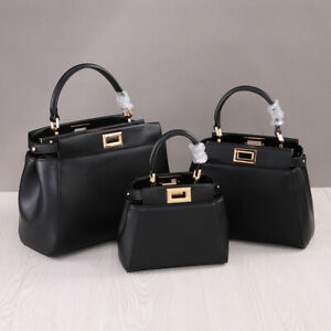 3-Szs-Real-Leather-Trapezoid-Top-Handle-Shoulder-Purse-Grab-Bag-Crossbody-Tote