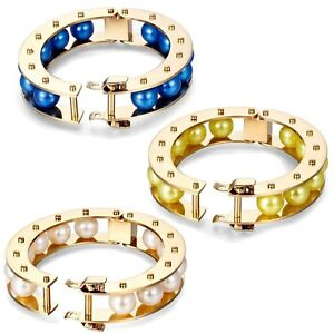 7-034-Bracelet-Women-Gold-14K-Plated-With-Faux-Pearl-Blue-White-Yellow-Cuff-Bangle