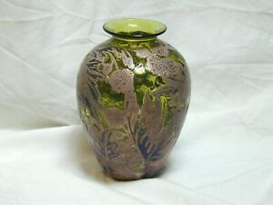 Jonathan-Harris-Limited-Edition-5-50-2001-039-Foliage-039-Cameo-Green-Silver-Art-Glass