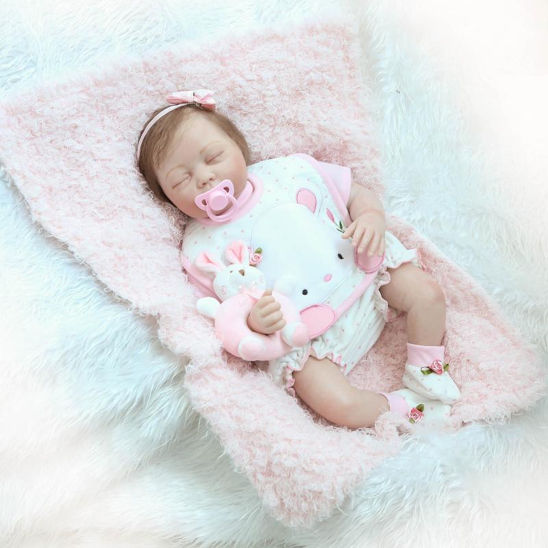 22  realista suave del vinilo regalos de silicona reborn sueño bebé recién nacido muñeca bebé niña