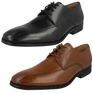 Hombre-Clarks-Gilman-Mode-Negro-Cuero-Marron-Zapatos-Elegantes-con-Cordones