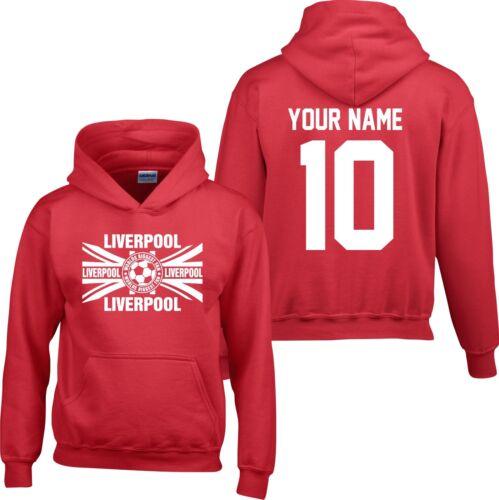 HOODIE LIVERPOOL Kids Children Boys Football T Shirt FREE name Personalised  wbf