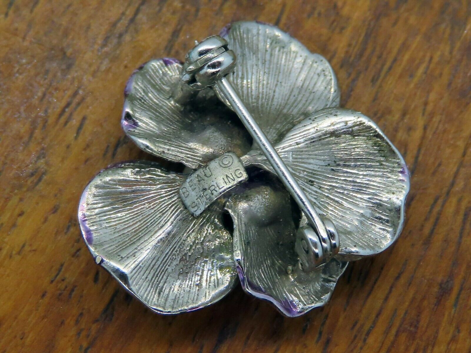 Vintage silver PANSY FLOWER PEAR BEAU BEAUCRAFT E… - image 3