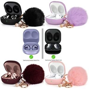 For Galaxy Buds 2 / Buds Live / Buds Pro / Cute Silicone Case Cover with Pompom