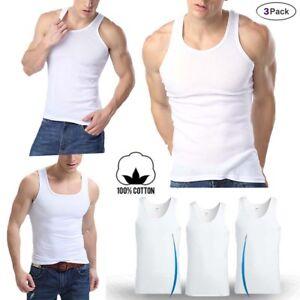 Lot 3,6 Packs Mens 100/% Cotton Tank Top A-Shirt Wife Beater Undershirt Ribbed BK