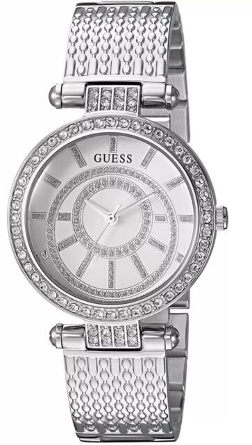 a94458b5c591 New Guess Women s Silver Stainless-Steel Japanese Quartz Fashion Watch  U1008L1