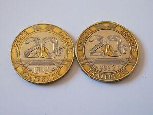2-x-20-francs-Mont-Saint-Michel-1992-Pessac-v-ouvert-fermee