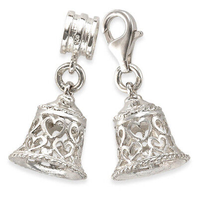 With 11mm Clasp Daughter Filigree Heart 925 Sterling Silver Clip On Charms