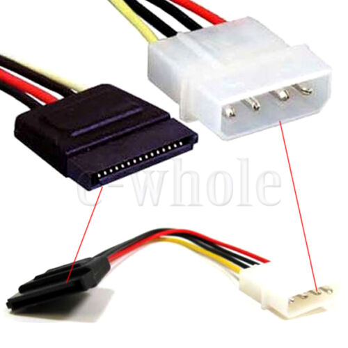 Molex IDE 4 pin to SATA 15 pin Power Connector Adapter Cable  TW