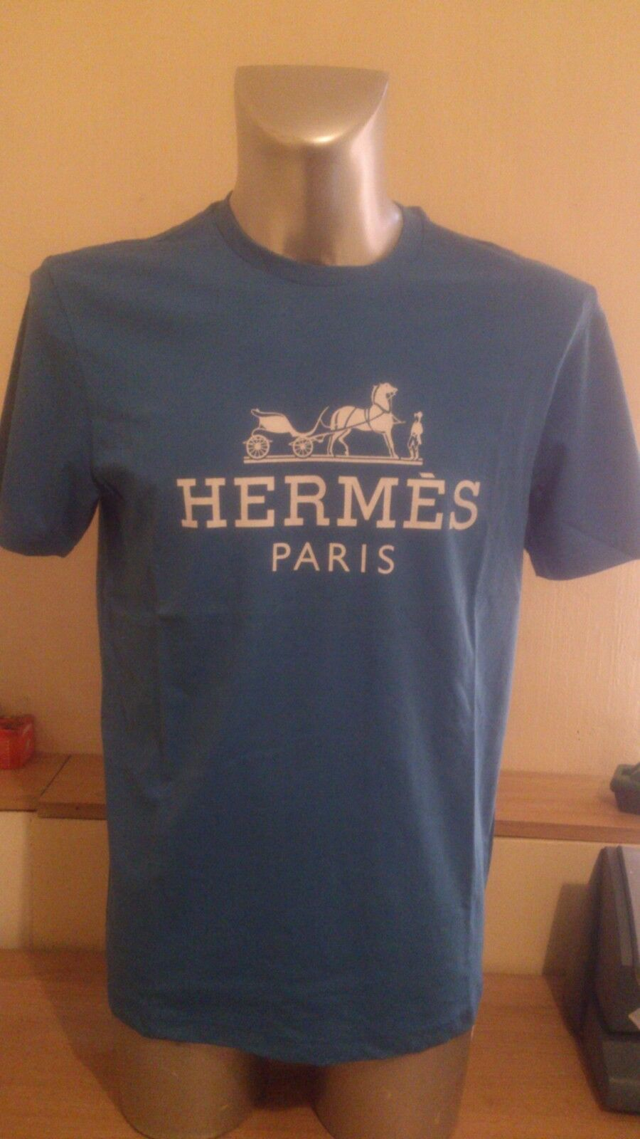 Herren Tshirt NEW 100% Original Organic Cotton Blau LARGE-  FREE UK DISPATCH