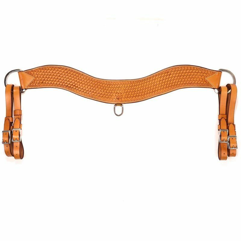 Western Natural Leather Basket Tooled 3.5 Wide Trippling Breast Collar