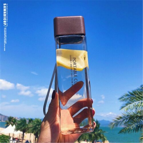Transparent Square Frosted Plastic Water Bottle Portable Fruit Juice Leak-Proof