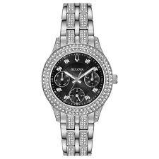 Bulova Women's 96N110 Quartz Crystal Markers Black Dial Silver-tone 33mm Watch