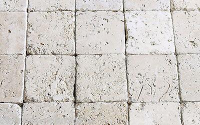 1m² Travertin Light getrommelt 10x10x1 cm Naturstein Antik Marmor Fliesen beige