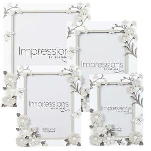 Impressions-Photo-Frame-White-Grey-Boarder-Flower-Butterfly-Choose-Size