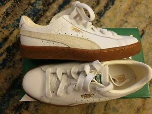 Details about Puma Basket Classic Gum Deluxe Trainers In White Gold size  4.5 UK