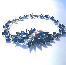 "Hermosa Elegante Topacio Azul Royal/Pulsera CZ Tamaño 7"""