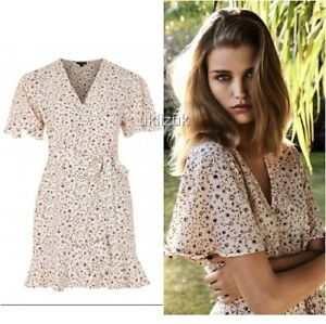 dirt cheap new concept fast delivery Details about Topshop Nude Peach Ditsy Floral Daisy Print Frilled Wrap  Dress - Size 8