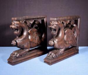 Details About French Antique Solid Oak Wood Statues Pedestals With Griffins Salvage