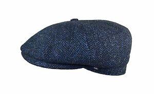 Harris-Tweed-blau-Herrenmuetze-Schiebermuetze-Schirmmuetze-Herrenkappe-Muetze-25376
