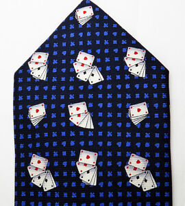 FIRENZE-Mens-Tie-Silk-Designer-Italy-Blue-Playing-Cards-Gambler-Vegas-Casino-New