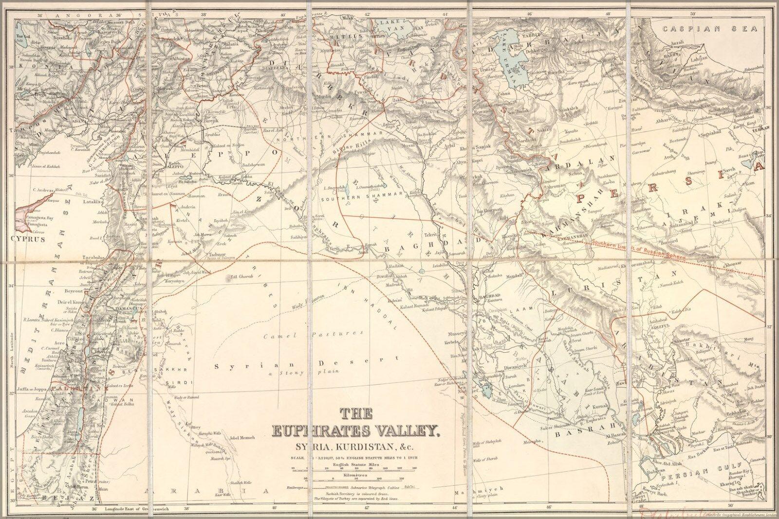 Poster, Molte Fiume Misure; Mappa Del Euphrates Fiume Molte Vallata Israele Iraq 5e3b44
