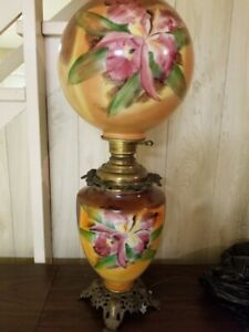Details About Antique Gone W The Wind Style Original Hand Painted Lamp Iris Globe Shades 30
