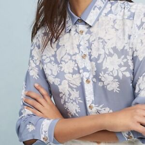 ANTHROPOLOGIE-MAEVE-Womens-ROSALEE-Silk-Floral-Button-Down-Gray-White-Size-8P