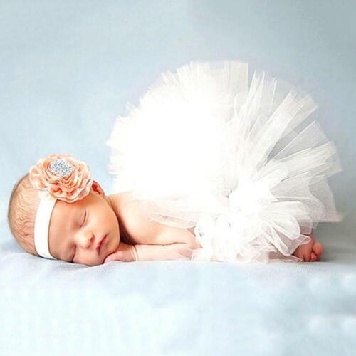 2pcs//set Newborn Girl Baby Clothes Flower Headwear Skirt Photo Prop Tutu Dress