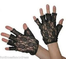 1980's Black Lace Madonna Fingerless Gloves 80's Fancy Dress