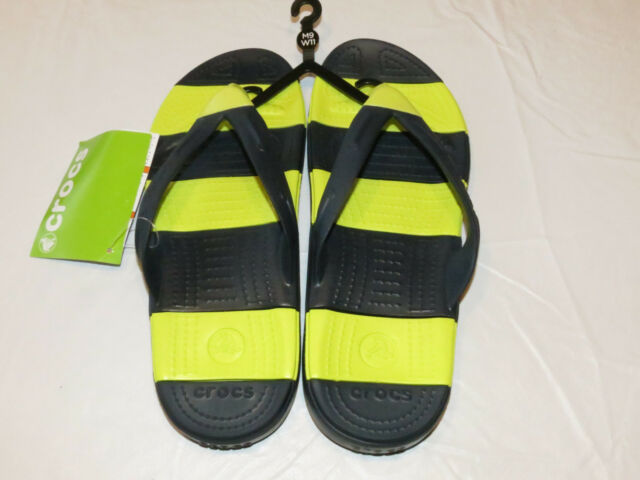 Beach Line Crocs unisex Navy Blue Citrus lime M 13 Flip flops Men's comfort