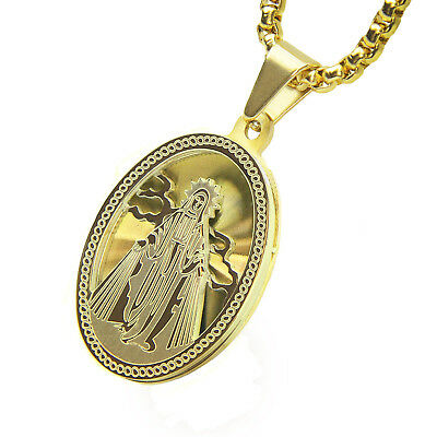 """Hip Hop Men/'s Gold Tone Stainless Steel Oval Shape Jesus 24/"""" Box Chain SCP 166 G"""