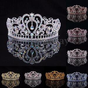 Wedding-Crystal-Tiara-Crown-Prom-Pageant-Princess-Crown-Bridal-Veil-Headband