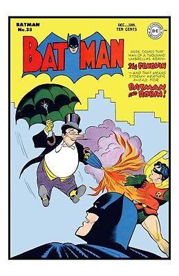 Bob Kane BATMAN Issue #38 UNSIGNED 11x17 1st PENGUIN on Cover