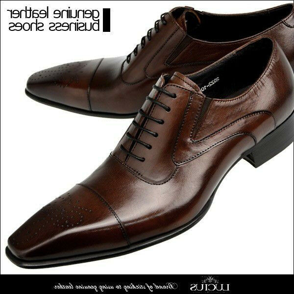 Men dress shoes genuine leather lace-up Japan business casual oxfords pointy toe