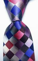 New Classic Checks Gray Blue Red Purple JACQUARD WOVEN Silk Men's Tie Necktie