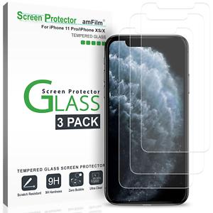 IPhone-XS-X-Protecteur-d-039-ecran-amfilm-verre-trempe-pour-iPhone-10S-10-3-Pack