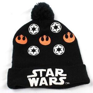 0dd3ef00dd4 STAR WARS Pom Beanie Embroidered Stretch Fit Unisex Hat Black Knit ...
