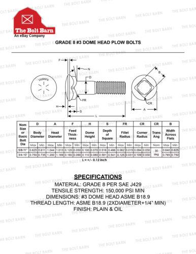 5//8-11x5#3 Grade 8 Dome Head Plow Bolts Plain /& Oil 8
