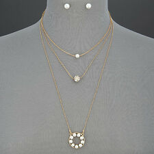Gold Triple Layered Chain Pearl Disco Ball Design Pendants Necklace And Earrings