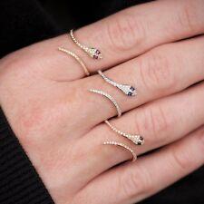 0.22ct Pavé Sapphire & Diamond 14K Yellow Gold Snake Cuff Ring Fine Jewelry 3-7