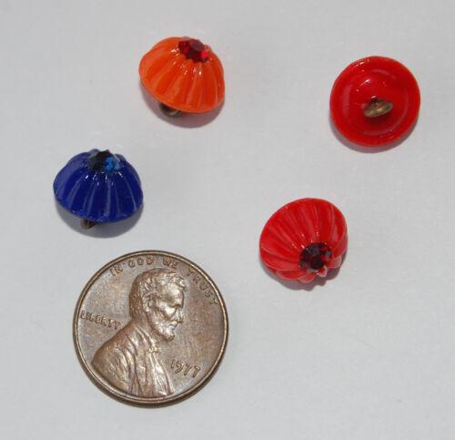VINTAGE 6 FLUTED GLASS BUTTON Made With SWAROVSKI RHINESTONE • RED BLUE ORANGE