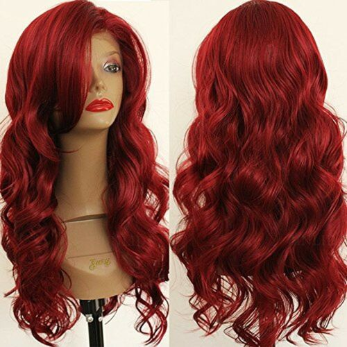 PlatinumHair New Fashion Red Wave Synthetic Lace Front Wigs Heat Resistant Gl...