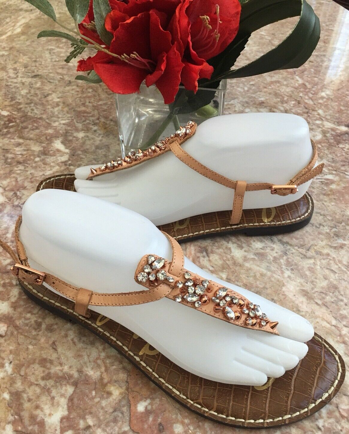 Sam Edelman Gwyneth jeweled studded Leder thong Sandale Sz 9.5 EUC  MSRP 150